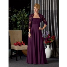 A line long purple chiffon lace mother of the bride dress with jacket