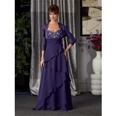 A line long royal blue chiffon beaded mother of the bride dress with jacket