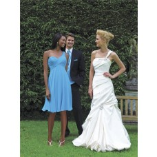 A line one shoulder knee length short blue chiffon wedding bridesmaid dress