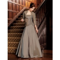A line strapless long brown taffeta mother of the bride dress with lace jacket