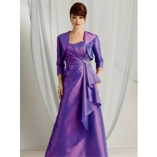 A line sweetheart floor length purple taffeta mother of the bride dress with jacket