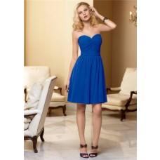 A line sweetheart knee length blue chiffon bridesmaid dress