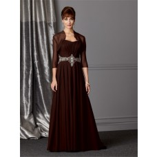 A line sweetheart long brown chiffon Mother of the bride dress with jacket