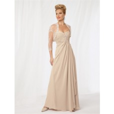 A line sweetheart long champagne chiffon Mother of the bride dress with jacket