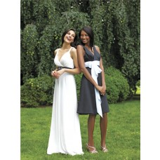 A line v neck knee length short charcoal grey chiffon bridesmaid dress with sash
