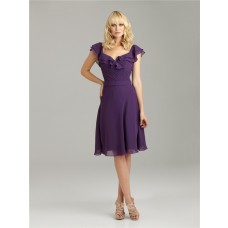 A line v neck knee length short purple chiffon bridesmaid dress with cap sleeves and ruffles