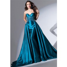 Amazing Strapless Sweetheart Long Teal Blue Taffeta Beaded Evening Dress With Train