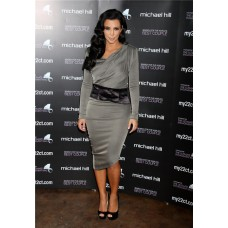 Asymmetric Tea Length Grey kim kardashian Dress With Long Sleeve
