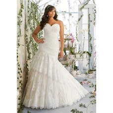 Asymmetrical Trumpet Sweetheart Corset Back Lace Ruched Plus Size Wedding Dress