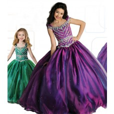 Ball Gown Bateau Neckline Purple Organza Beaded Girl Pageant Prom Dress