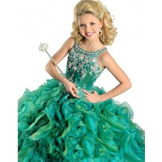 Ball Gown Emerald Green Organza Ruffle Beaded Little Girls Party Prom Dress Straps