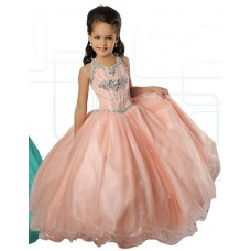 Ball Gown Halter Blush Pink Tulle Beaded Girl Pageant Prom Dress