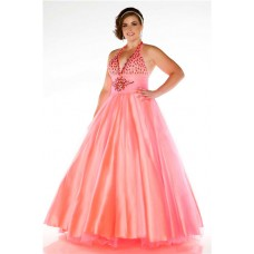 Ball Gown Halter Candy Pink Tulle Beaded Plus Size Party Prom Dress