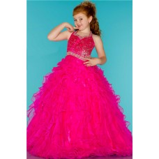 Ball Gown Halter Hot Pink Ruffle Beaded Cute Little Flower Girl Prom Dress