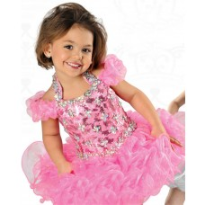 Ball Gown Halter Pink Organza Ruffle Beaded Toddle Girl Pageant Prom Dress