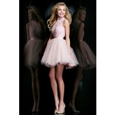 Ball Gown High Neck Backless Short Baby Pink Tulle Lace Prom Dress Open Back