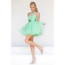 Ball Gown High Neck Keyhole Back Short Mint Green Tulle Lace Prom Dress With Collar