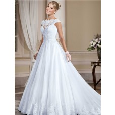 Ball Gown High Neck Sheer Back Tulle Lace Wedding Dress With Cap Sleeves