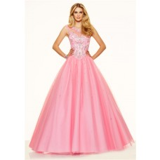 Ball Gown Illusion Neckline Open Back Corset Light Pink Tulle Beaded Prom Dress
