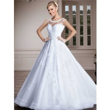 Ball Gown Jewel Illusion Neckline Sheer Back Lace Tulle Beaded Wedding Dress