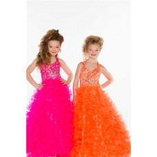 Ball Gown Long Orange Tulle Ruffle Little Flower Girl Prom Dress With Straps