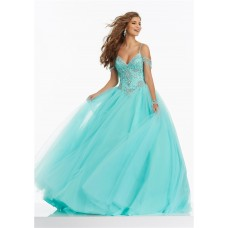 Ball Gown Off The Shoulder Basque Waist Corset Aqua Tulle Prom Dress