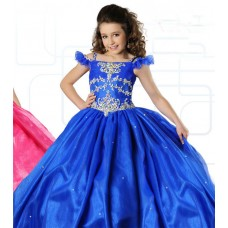 Ball Gown Off The Shoulder Royal Blue Organza Beaded Girl Party Dress With Straps