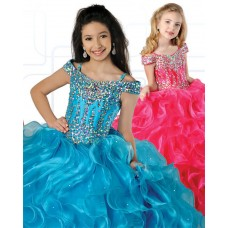 Ball Gown Off The Shoulder Turquoise Organza Ruffle Beaded Girl Pageant Dress