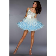 Ball Gown One Shoulder Short/ Mini White Blue Beaded Feather Cocktail Party Dress