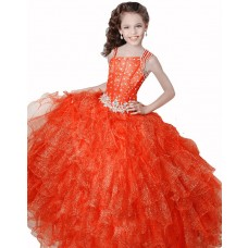 Ball Gown Orange Organza Ruffle Beaded Girl Pageant Prom Dress With Straps