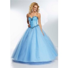 Ball Gown Princess Sweetheart Light Sky Blue Tulle Beaded Prom Dress Corset Back