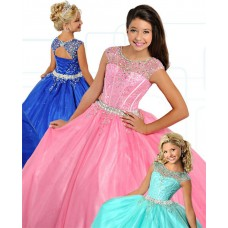 Ball Gown Round Neck Open Back Pink Organza Beaded Girl Pageant Dress