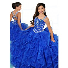 Ball Gown Royal Blue Organza Ruffle Beaded Girl Pageant Prom Dress With Straps