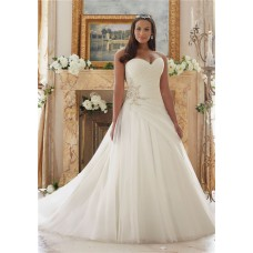 Ball Gown Ruched Tulle Crystals Beaded Plus Size Wedding Dress Lace Up Back