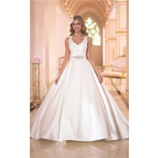Ball Gown Scalloped Neck Keyhole Open Back Satin Lace Wedding Dress Crystals Sash