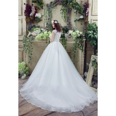 Ball Gown Scoop Neck Lace Organza Wedding Dress Chapel Train