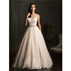 Ball Gown Sheer Illusion Neckline Champagne Lace Tulle Wedding Dress With Belt
