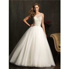 Ball Gown Sheer Illusion Neckline Tulle Beaded Wedding Dress With Low Back
