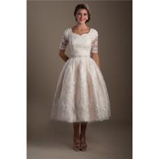 Ball Gown Short Sleeve Tea Length Lace Modest Wedding Dress