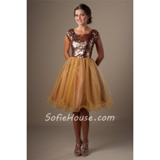 Ball Gown Square Neck Cap Sleeve Short Gold Sequin Tulle Corset Prom Dress