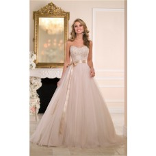 Ball Gown Strapless Champagne Tulle Lace Beaded Corset Wedding Dress With Sash