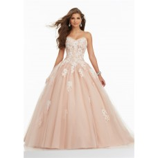 Ball Gown Strapless Corset Champagne Tulle Lace Applique Prom Dress