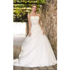 Ball Gown Strapless Corset Organza Draped Wedding Dress With Flowers Beading Belt