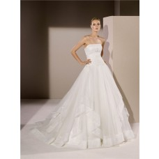 Ball Gown Strapless Drop Waist Applique Tulle Ruffle Wedding Dress