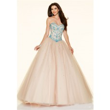 Ball Gown Strapless Drop Waist Corset Champagne Tulle Blue Beaded Prom Dress