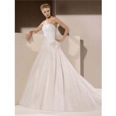 Ball Gown Strapless Drop Waist Low Back Tulle Lace Beaded Wedding Dress With Flower