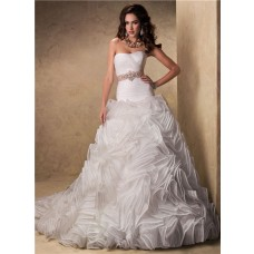 Ball Gown Strapless Layered Organza Ruffle Puffy Wedding Dress With Crystal Sash