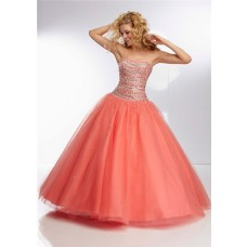 Ball Gown Strapless Long Coral Tulle Beaded Crystal Prom Dress Corset Back