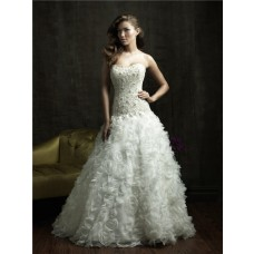 Ball Gown Strapless Organza Ruffles Floral Wedding Dress With Pearls Crystals