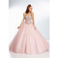 Ball Gown Strapless Sweetheart Long Light Blush Pink Tulle Beaded Prom Dress
